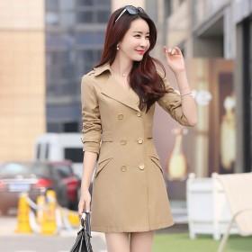中长款风衣外套2017春秋季新款韩版长袖大码女装
