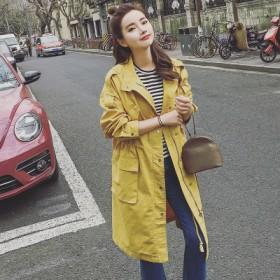 韩版学生中长款工装风衣薄宽松显瘦百搭收腰抽绳上衣潮