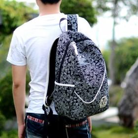 双肩包男简约帆布包韩版潮电脑包男士书包中学生背包
