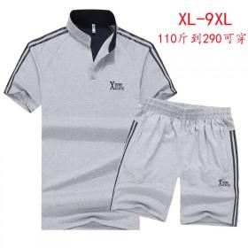 男士运动休闲短袖套装时加肥加大码青年立领绣花纯棉装