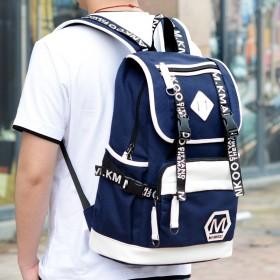 韩版男士双肩包休闲帆布书包男时尚潮流初中学生旅行包