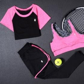 女瑜伽服3件套跑步女运动服短裤女套装长裤女T恤