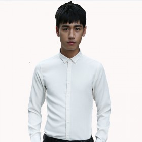 韩范棉衬衣长袖打底白色职业商务正装衬衫男长袖修身韩