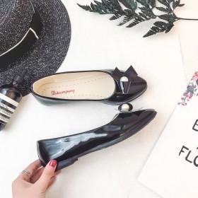 春夏季新款漆皮女鞋蝴蝶结时尚单鞋女圆头平底低跟粗跟