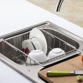 304不锈钢沥水篮 可伸缩水槽洗菜篮置物架