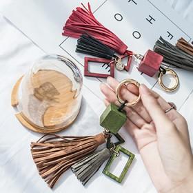 木方流苏钥匙扣包包挂件