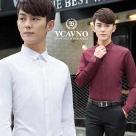 青少年纯棉衬衫商务修身