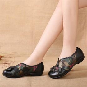 民族风复古妈妈鞋真皮软底舒适女鞋