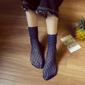 2017春夏新款韩版潮纯色镂空网眼蕾丝女袜堆堆袜