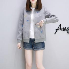 新款女装春装韩版宽松码外套短款女刺绣棒球服短休闲夹