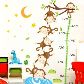 卡通儿童房墙上贴画小孩宝宝婴儿测量身高贴纸墙贴