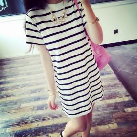 新款中长款条纹短袖T恤韩版女士衣服包臀裙