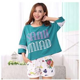睡衣女韩版夏天可爱短袖短裤字母圆领套头女棉套装蝙蝠