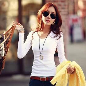 韩版女式纯色修身长袖T恤百搭女士上衣打底衫圆领V