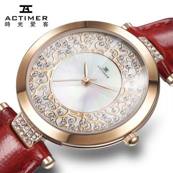 手表 女士石英表 防水皮带腕表 贝母表韩版学生手表