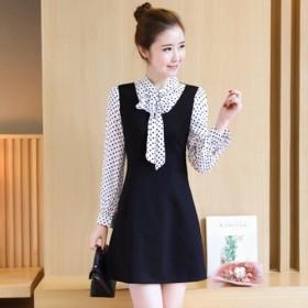 2017春装新款时尚圆点蝴蝶结衬衫拼接假两件连衣裙