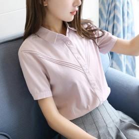 学生短袖衬衣女式寸衫娃娃领拼接百搭打底纯棉衬衫女