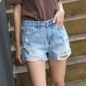毛边破洞高腰排扣牛仔短裤女百搭a型修身提臀牛仔棉