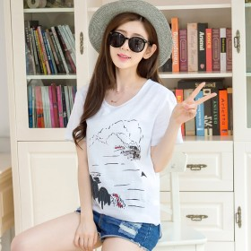 夏棉麻短袖t恤女宽松中长款韩版亚麻衬衫女大码上衣