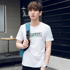 男士夏季男装短袖t恤修身个性上衣服学生韩版日系打底