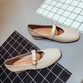 方头女鞋简约百搭粗跟工作鞋韩版皮带扣浅口单鞋女