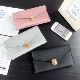 长款钱包韩版女士简约信封钱夹锁扣包手机包PU包