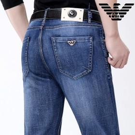 阿玛尼牛仔裤男士夏季修身纯棉中腰直筒休闲裤长裤