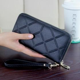 长款钱包女士大容量方格拉链包男式手拿包复古皮夹