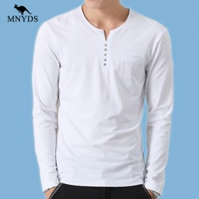 马尼亚袋鼠 春秋新款韩式潮男纯色日常百搭长袖T恤上