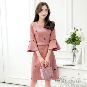 2017韩版品牌大码女装胖MM刺绣鹿皮绒显瘦连衣裙