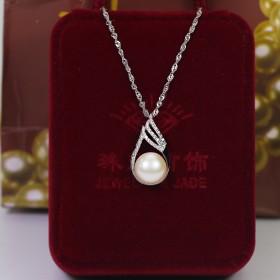 925银镶嵌天然珍珠吊坠项链