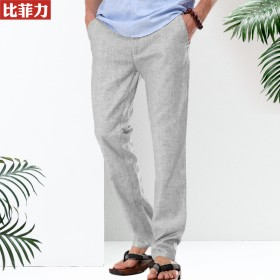 比菲力男士亚麻裤中国风男装麻料男裤夏季薄款休闲裤宽