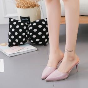 中高跟半拖鞋女韩版漆皮包头细跟尖头百搭舒适凉拖鞋