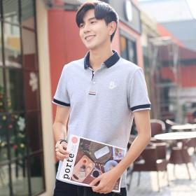 休闲男装夏季新品男式polo衫 韩版修身翻领短袖t