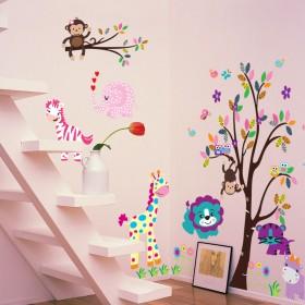 可移除墙贴纸墙纸动物乐园儿童房幼儿园装饰卡通温馨卧