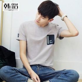 韩路男装春夏男t恤 个性潮流印花短袖圆领休闲衫