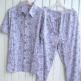 100%棉 男士睡衣夏季纯棉短袖套装