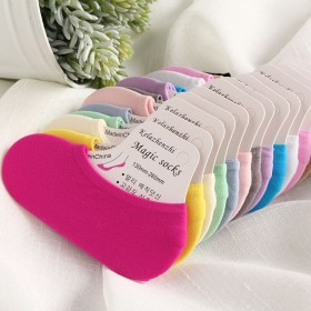 10双装硅胶防滑船袜糖果色