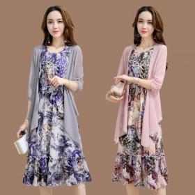 套装连衣裙女春秋新款时尚韩版雪纺显瘦长裙两件套女