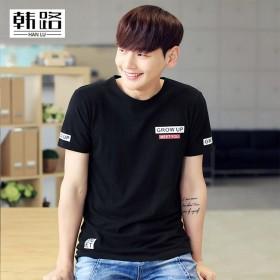 韩版男装新款夏季t恤圆领套头男式短袖 印花短袖纯棉