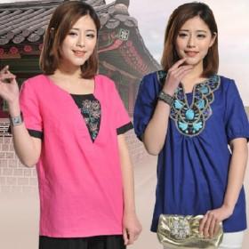 买一送一棉麻刺绣衬衫文艺复古中国风上衣大码中老年装