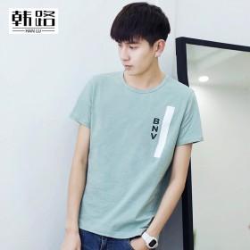 春夏男t恤 时尚印花男式t恤休闲圆领短袖体恤衫 潮