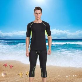 健身运动服男夏中袖七分裤套装绿网格速干透气跑步健身