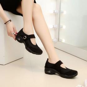 老北京布鞋坡跟软底透气垫女鞋网布工作鞋舞蹈鞋松糕底