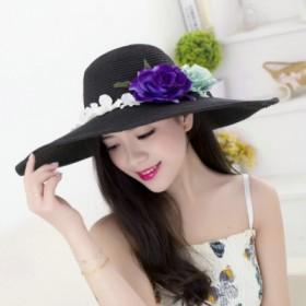花朵草帽女沙滩帽女大檐帽