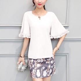 韩版两件套修身气质淑女裙时尚圆领短袖连衣裙春