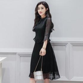 喇叭袖雪纺修身A字裙优雅植绒条韩版拼接连衣裙春