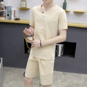 夏季新款亚麻短袖T恤套装男士棉麻休闲两件套