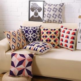 简约现代蓝色几何北欧家宜风格英伦抽象棉麻抱枕客厅沙