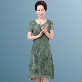 中老年女装连衣裙夏季大码雪纺长裙
